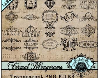 Wedding Clipart, Ornate Monograms, Wedding Monograms, premade logo, Design Elements for DIY Invitations, Clipart Elements