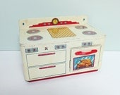 Vintage Ohio Art Metal Toy Play Stove with a Working Oven Door, Red Handle and a Faux Turkey in the Oven