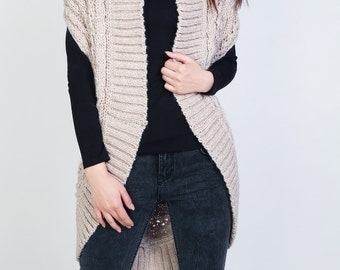 Hand knit long vest sweater Wool cadigan Wheat woman sweater