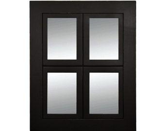 Small Windowpane Mirror - 4, 5X7 Pane, Black Wood - Lightly Distressed