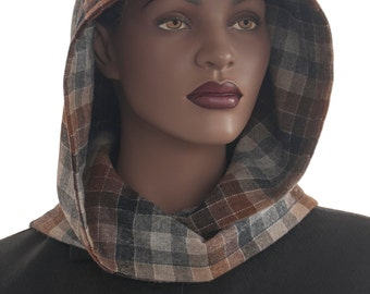 SALE Hood Scarf Wrap Scarf Brown Tan Checked Hood Scarf Head Hoodie Wrap Scarf Handmade