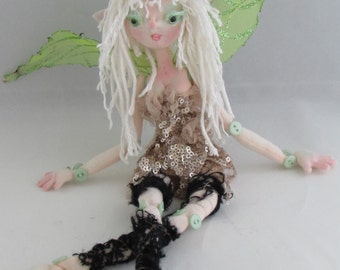BUTTON FAIRY, soft sculpture rag doll, handmade in the USA