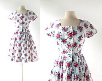 Vintage Dirndl Dress   1950s Dress   50s Floral Dress   XS S