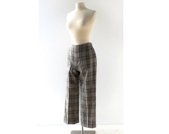 Vintage Plaid Pants | Wool Trousers | Evan Picone | 26W XS