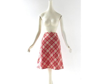 Red Plaid Skirt | Vintage 60s Skirt | A Line Skirt | 25W XS