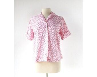 Vintage 1960s Blouse / Pink Floral Blouse / 60s Shirt / M L