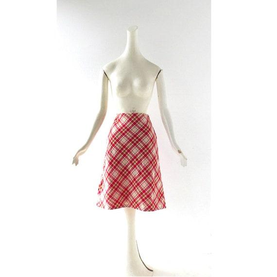 plaid skirt vintage 60s skirt a line skirt 25w xs