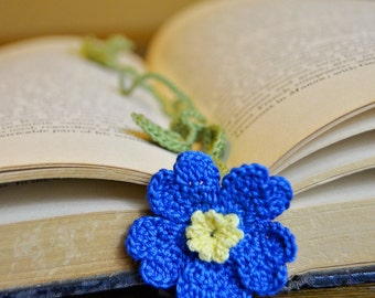Handmade Crochet Flower Bookmark Vibrant Blue Primrose
