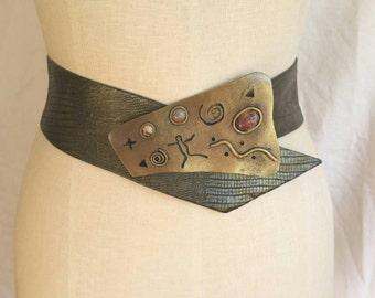 Avant Garde 80s era Belt // Sculptural OAK Art // Brass & Stone
