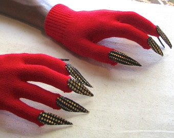 Gloves with claws, red with gold and black, for Halloween costume or pretend play, one size stretch glove
