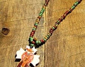 Cowboy & Horse Rustic Cross Necklace with Czech Glass Beads country western rodeo cowgirl turquoise brown red faith Christian inspirational