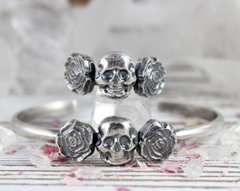 Skull and Roses Ring Sterling Silver Ring Skull Jewelry for Women Sterling Silver Statement Ring Silver Jewelry Skull Jewelry Skulls