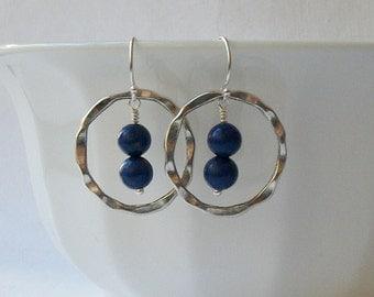 Lapis Blue Circle Dangle Earrings