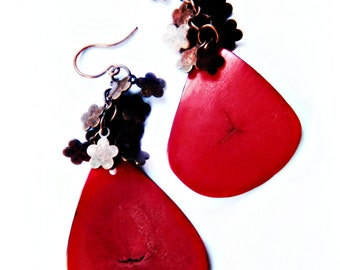 Tagua Slice Earrings /  Flamenco Red