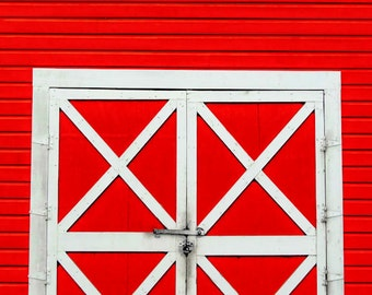 Red and White Barn Doors Fine Art Print - Doors Farm, Architecture, Vintage, Home Decor, Rural, Gift