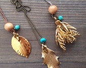 Gold Dipped Leaf Necklace