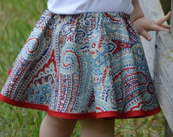Toddler Circle Skirt Reversible Navy Blue and Red Paisley and Floral Theme with Embroidered Flowers for Birthday Party Dancing and Twirling