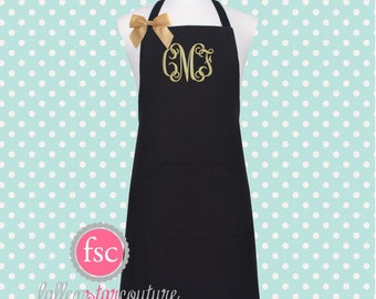 Monogrammed Apron  , kitchen apron , cooking apron , ladies apron , personalized apron
