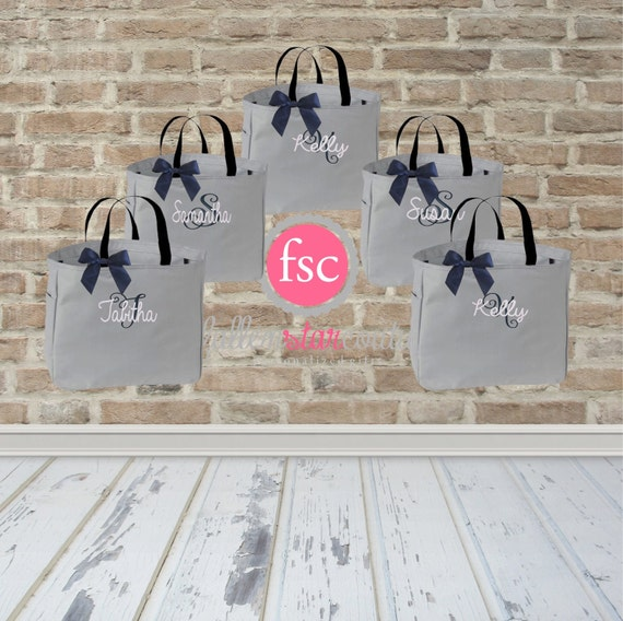 5 Bridal Party Tote Bags Bridesmaid Gifts Tote Bag