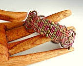 Macrame Bracelet - Beaded Macrame Bracelet in Khaki and Pink  - Micro Macrame Jewelry - Boho Bracelet - Hippie Jewelry