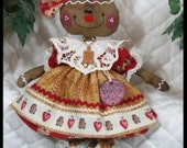 """Primitive Raggedy 2016 """"BaKeD WiTh LoVe"""" Gingerbread Collection~14"""" doll"""