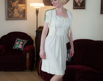 Vintage 1930s Dress Set - Incredible White Rayon Jersey Halter Dress and Bolero with Green and White Floral Embroidery