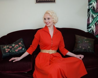 Vintage 1950s Dress - Stunning Red Orange Wool Jersey 50s Day Dress with Golden Brass Buttons with Full Sweeping Skirt