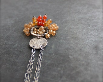 Orange Gemstone Cluster Pendant Necklace - Floral Design, Ombre Fringe, November Birthstone, Carnelian, Citrine, Quartz, Sterling Silver