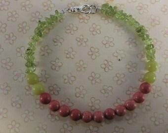 Coral and peridot gemstone bracelet