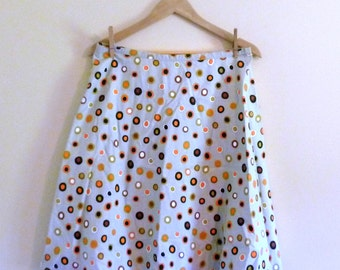 PREVIOUSLY 28.00 - Vintage 50s Full High Waist Polka Dot Skirt - Size M