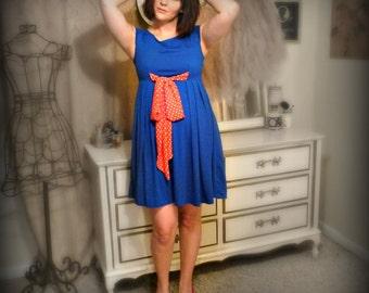 Vintage Blue Mini Dress with Polka Dot Bow - Size S/M