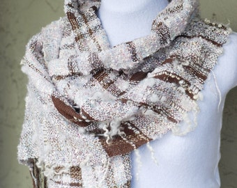 Handwoven Scarf, Wrap, Shawl, Oversized, Wool Locks, Freeform, Textured, Boucle