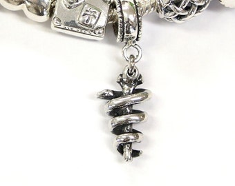 Rod of Asclepius - 925 Sterling Silver European Style Charm Bead - Fits most Major Brands 433