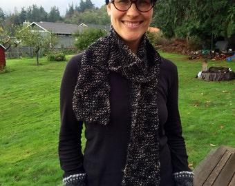 tweed scarf, handknit, wool, black, brown, gray