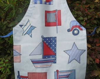 Boy's Blue Sail Boat and Truck Oilcloth Apron, Child's Handmade Blue Nautical and Truck Wipe Clean Apron, Ages 2 - 6 yrs