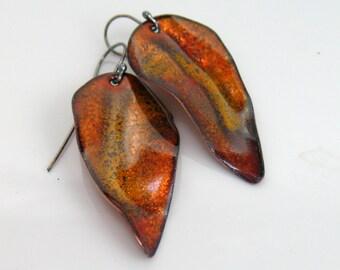 Dark Golden Long Leaf Dangle Earrings, Glowing Enamels in Rich Color, Luminous Copper Enamel, Vitreous Enamel Art Jewelry, Artisan Earrings