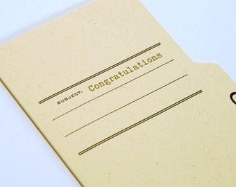congratulations - letterpress printed tabbed notecard