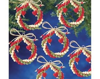 Folk Wreaths Ornament Kit DIY Beaded Ornaments Christmas Tree Ornaments Holiday Bead Kit Make Your Own Ornaments