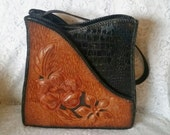 Beautiful Black and Caramel Tooled Leather Handbag with Horse and Flowers