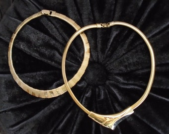 Vintage 90s Gold Choker Necklaces - Set of Two