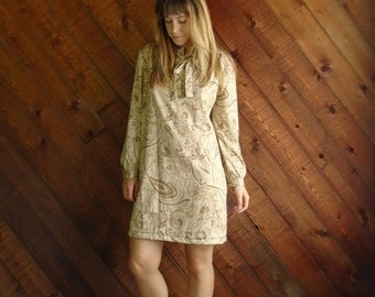 Floral Paisley Mini Secretary Dress with Ascot Bow Tie - Vintage 70s - LARGE