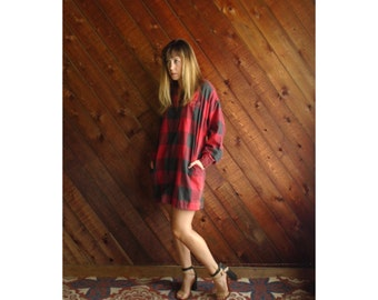 Red Buffalo Plaid Mini Shirt Dress - Vtg 80s - MEDIUM Petite