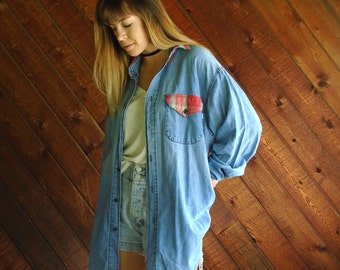 Denim Plaid Oversized Button Down Shirt - Vintage 90s - LARGE