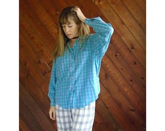 extra 25% off SALE ... Green Purple Plaid Flannel Long Sleeve Shirt- Button Down - Vintage 80s - MEDIUM LARGE M L