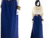 Quilted Skirt Long Maxi Navy Blue Vintage High Waist Skirt Size XS