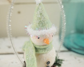 Snowman // Christmas Decoration // Ornament // Tart Tin //  Folk Art // Cottage Chic // Vintage Style Christmas //