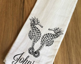 Personalized Seahorse Decorative Flour Sack Towel