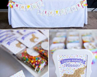 Unicorns and Rainbows Birthday PRINTABLE Party Collection - You Customize EDITABLE TEXT >> Instant Download | Paper and Cake