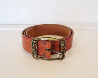 Vintage Boho Floral Tooled Leather Belt w/ Floral Metal Buckle