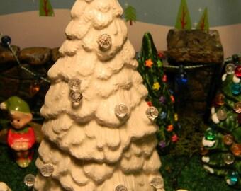 White   Ceramic Tree   Evergreen for  Terrarium or miniature gardens  Trees dollhouse decor